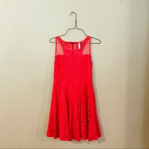 Coral Lace Fit and Flare Dress